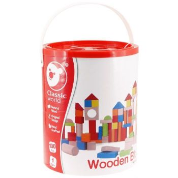 Coloured Wooden Blocks in Bucket with Sorting Lid