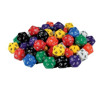 20 Sided Dice Pack of 5 - GA305/5