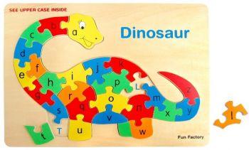 Dinosaur Alphabet Raised Wooden Puzzle