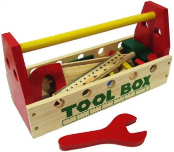 Wooden Tool Box with Tools