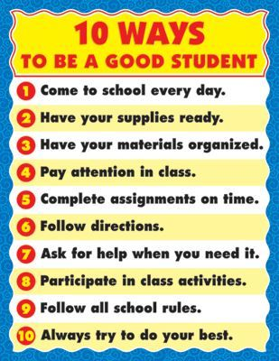 10 Ways To Be A Good Student Chart CD6295