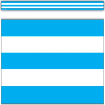 Aqua And White Stripes Straight Border TCR5291
