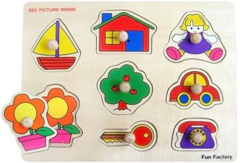 House/Boat Wooden Puzzle with knobs
