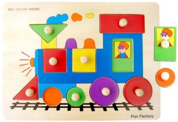 Train- Wooden Puzzle with Knobs