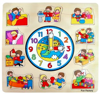 Clock Peg Wooden Puzzle with Children