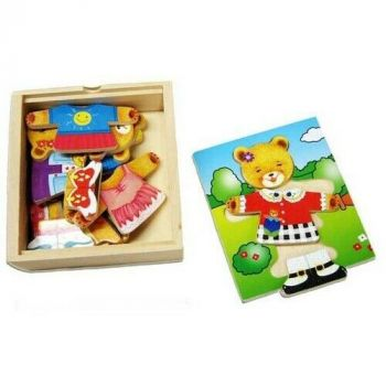 Dress Up Girl Bear Puzzle with Emotions