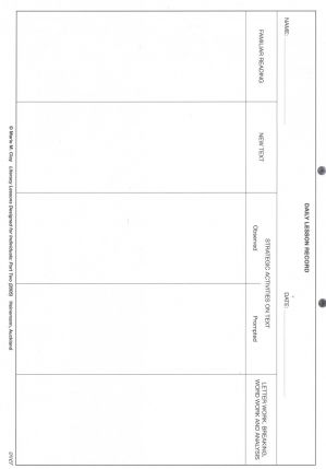 Literacy Lesson Plan Sheets (200 Pages) - (Marie Clay)