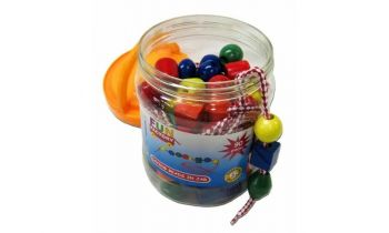 Lacing Beads in a Jar 90 pcs