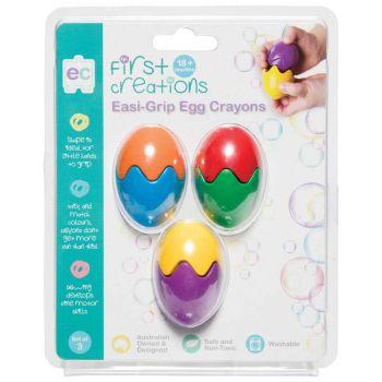 First Creations Easi-Grip Egg Crayons Set 3