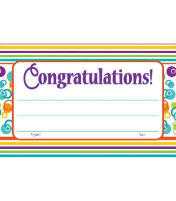 Congratulations Calypso Rainbow Certificates Pack of 30 CD101065