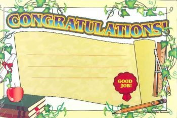 Congratulations! Pack of 25 Certificates TCR4171