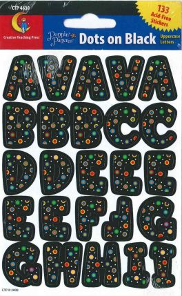 Alphabet Shape - Poppin' Patterns Dots on Black Uppercase Letters Stickers CTP4630