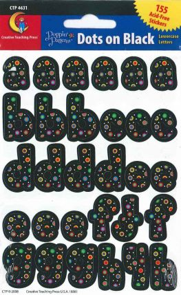 Alphabet Shape - Poppin' Patterns Dots on Black Lowercase Letters Stickers CTP4631