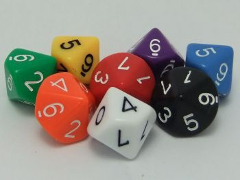 10 Sided Dice (0-9) Pack of 10 - GA028