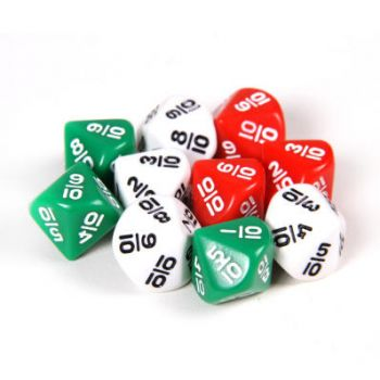 10 sided Dice- Fractions Set of 6 - GA321