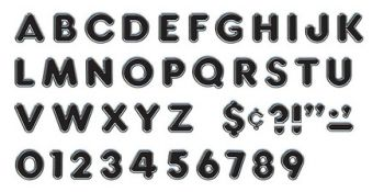 Black Chrome Ready Letters Uppercase T79047